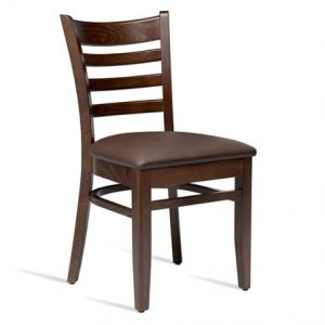 Stayvone Quality Kitchen Dining Chair Dark Walnut Frame Brown Padded Seat Fully Assembled