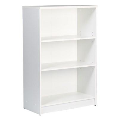 Sheek Danish Made Medium Bookcase - Pearl White Melamine - 3 Shelf