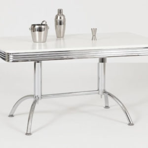 Kinsone American Large Retro Diner Bistro Rectangular Kitchen Dining Table White Or Black High Gloss Top