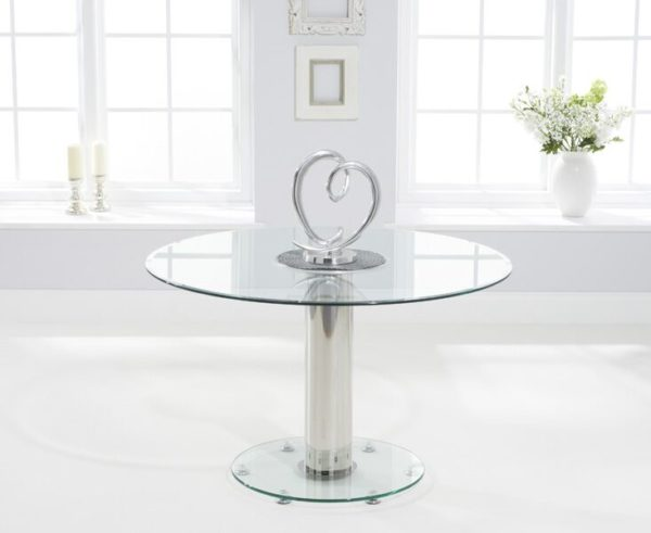 Sara Large Clear Glass Round Modern Kitchen Dining Table