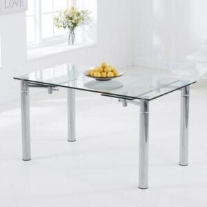 Genadar Large Strong Clear Glass Rectangular Modern Kitchen Dining Extending Table