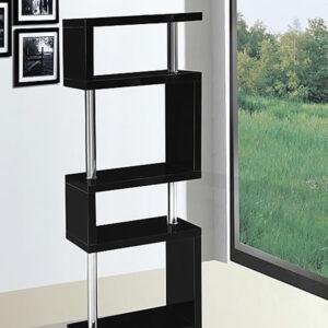 Sunshine Modern 5 Tier Stand - Black Gloss And Chrome Frame