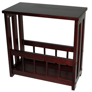 Deloras Solid Wood Side Table Magazine Storage - Mahogany