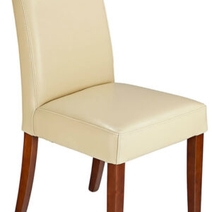 Modernason Cream Bonded Real Leather Quality Modern Dining Chair Padded Seat And Back Fully Assembled
