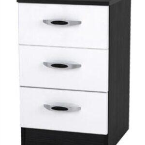 Mod Pi Quality Bedroom 3 Drawers Bedside - Fully Assembled Hacienda Black & High Gloss White Finish