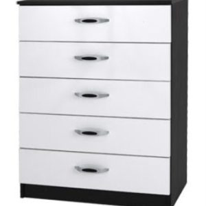 Mod Pi Quality Bedroom 5 Drawers Chest - Fully Assembled Hacienda Black & High Gloss White Finish