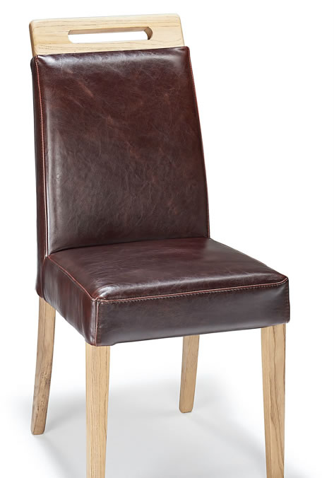 Modernason Brown Aniline Leather Dining Chair Padded Seat Oak Frame Fully Assembled