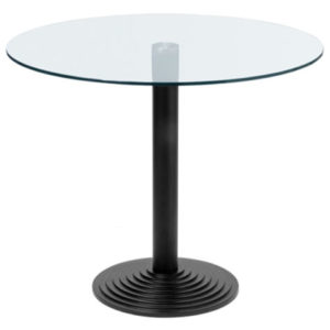 Montone Round Glass Small Or Large Dining Kitchen Table Black Or Aluminium Cast Iron Base - Various Sizes