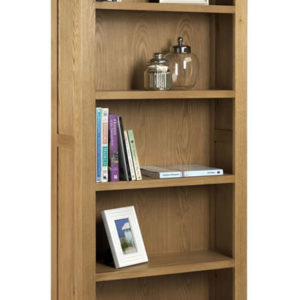 Taria Tall Bookcase Solid Oak And Oak Veneers Waxed Finish Fully Assembled