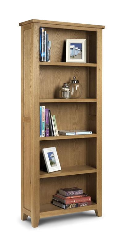 Taria Tall Bookcase Solid Oak And Oak Veneers Waxed Finish Fully Assembled