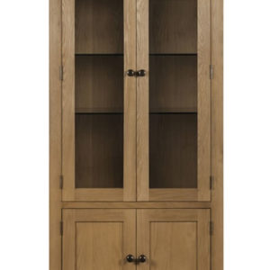 Taria Glazed Display Cabinet Solid Oak And Oak Veneers Waxed Finish Fully Assembled
