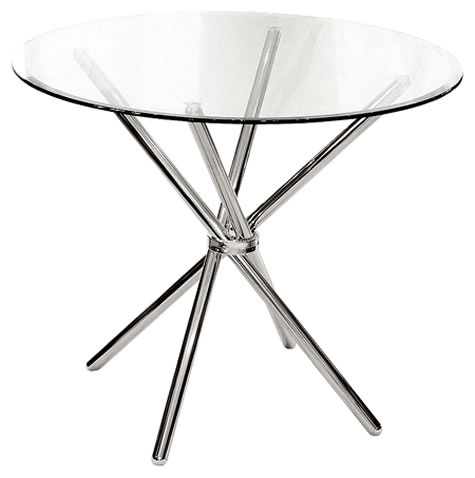 Lincoln Clear Glass Dining Kitchen Table Chrome Criss Cross Legs