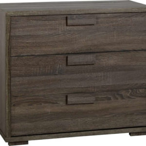Amoga 3 Drawer Bedroom Chest In Dark Sonoma Oak Effect Veneer