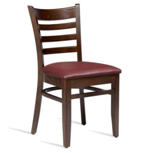 Stayvone Quality Kitchen Dining Chair Walnut Frame Wine Red Padded Seat Fully Assembled
