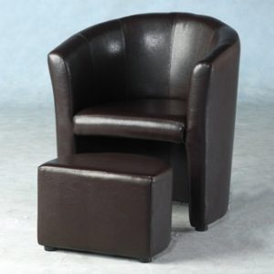 Paco Pvc Brown Tub Chair With Tuck In Footstool