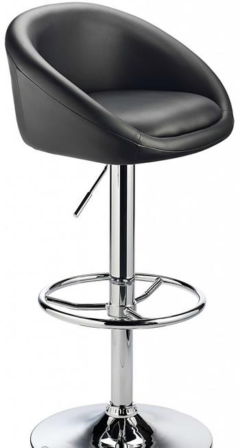 Prima Bar Stool Adjuatable Height - Black Padded Seat Chrome Or Brushed Frame