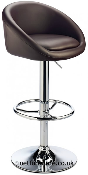 Prima Bar Kitchen Breakfast Stool - Brown Padded Seat Chrome Or Brushed Frame