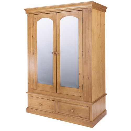 Abingdon Edwardian Style Wardrobe 2 Mirrored Door 2 Drawer Wide With Hanging Rail