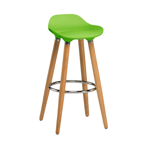Moreno Green Modern Kitchen Bar Stool Height Fixed Height Beech Legs