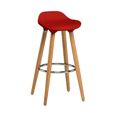 Moreno Red Modern Kitchen Bar Stool Height Fixed Height Beech Legs