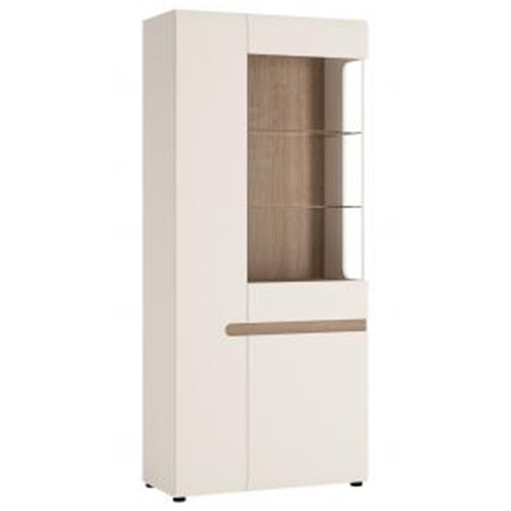 Chelfont Living Tall Glazed Wide Display Unit (Lhd In White Gloss With An Truffle Oak Trim