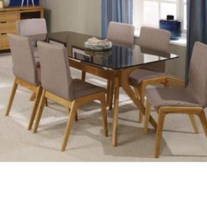 Protto Tinted Glass Oak Dining Table And 4 Chairs