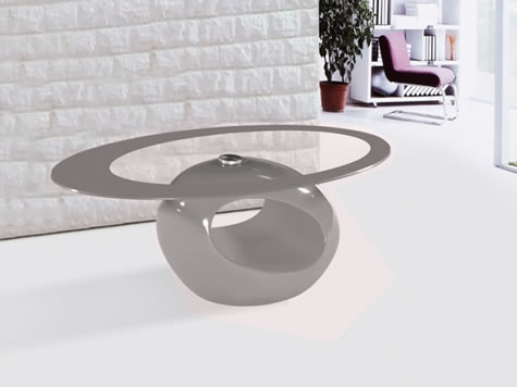 Genevey Mink Grey Glass Gloss Modern Contemporary Coffee Table