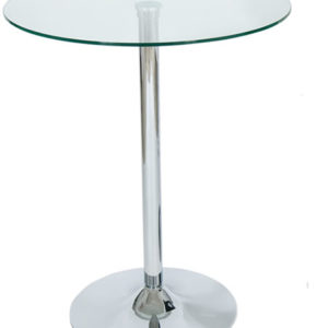 Trayney 60Cm Top Glass Tall Poseur Bar Kitchen Table