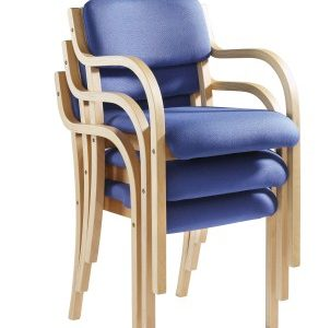 Prad Stackable Fabric And Wood Chair With Arms