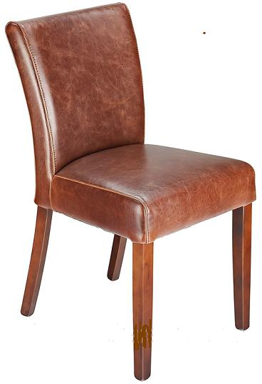 Charro Aniline Leather Dining Chair Aged Brown Real Leather Padded Seat Walnut Legs Fully Assembled