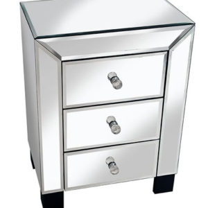 Serene Sophisticated Mirror Glass Bedside Table - Cube Design