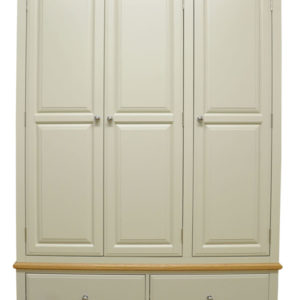 Preston Large Wardrobe 3 Door 2 Drawer Truffle Cream Painted