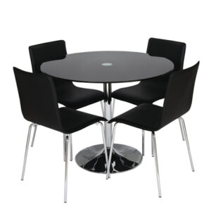 Harvey Black Or Clear Glass And Chrome Dining Table With 4 Ponty Black Chairs