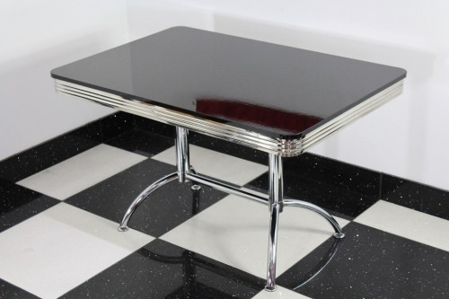 Chicago Large Rectangle High Gloss Black Top Retro Diner Kitchen Table