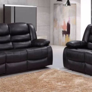 Rema Black Bonded Leather Recliner 3 Seater