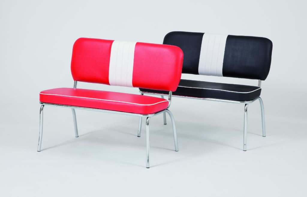 Chicago Retro 50'S Style Chair Bench Red And White Padded Seat And Back Chrome Frame Legs
