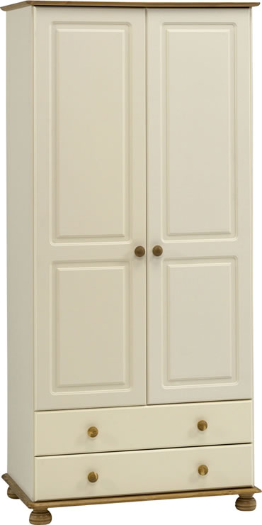 Rosemandy Cream And Pine Wardrobe - 2 Door And 2 Drawer Danish Made Quality
