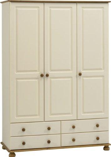 Rosemandy Cream And Pine Wardrobe 3 Door & 4 Drawer Danish Made Quality