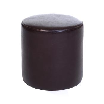 Hamilton Upholstered Round Brown Faux Leather Stool