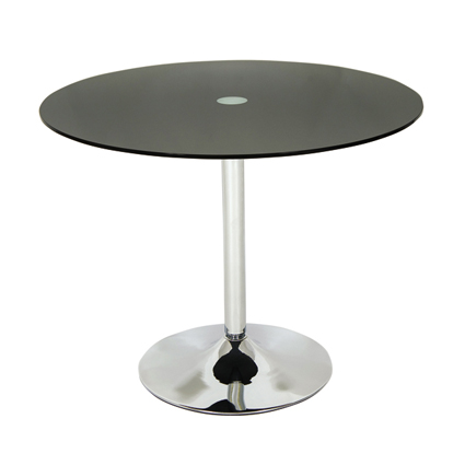 Harvey 80 Cm Round Black Or Clear Glass And Chrome Dining Kitchen Table
