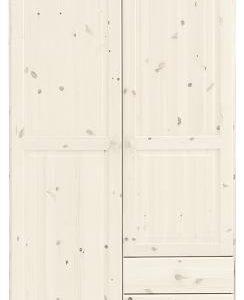Remano Wardrobe - Whitewash 2 Door With 3 Small Drawers