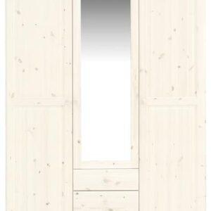 Remano Wardrobe - Whitewash 3 Doors - Mirror & 3 Draws