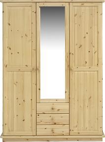 Remano Wardrobe - Natural 3 Doors - Mirror & 3 Draws