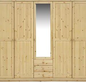 Remano Wardrobe - Natural 5 Door - Mirror & 3 Draws