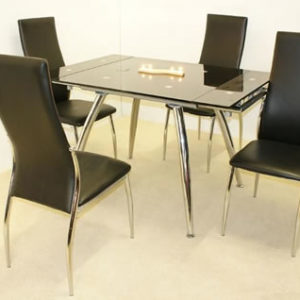Lamon Black Glass Rectangle Extendable Dining Table With 4 Chairs