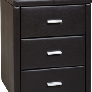 Sandra 3 Drawer Bedside Chest In Expresso Brown Pvc