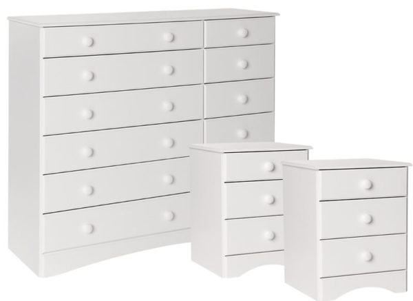 Spacone Pine Or White Bedside And Chest Of Drawers Package Danish Made Quality