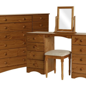 Spacone Pine Or White Dressing Table-Stool-Mirror-6+6 Wide Chest Package Danish Made