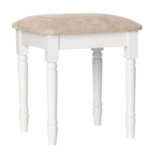 Carey Danish Made White Mdf Padded Dressing Stool