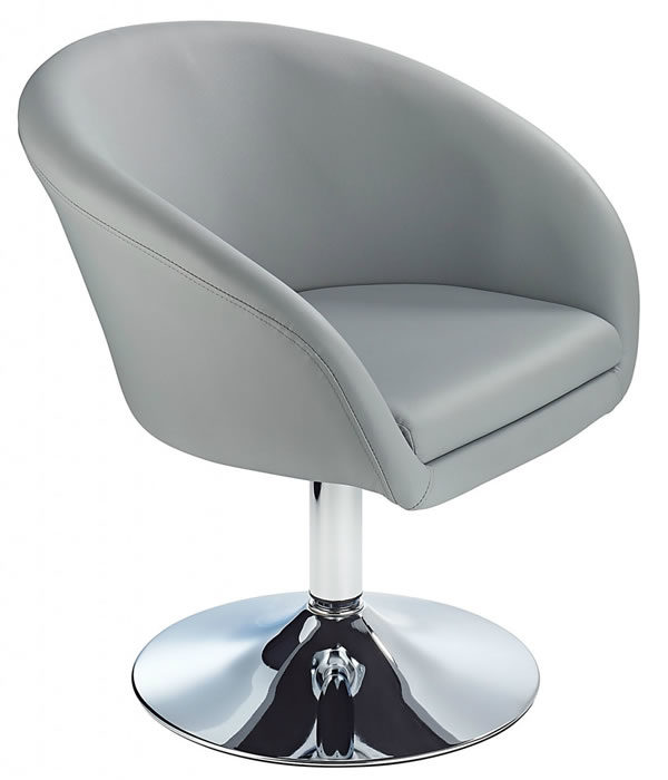Miraculous Leisure Tub Bucket Chair Grey Padded Seat Swivel Chrome Frame Gmtry Best Dining Table And Chair Ideas Images Gmtryco